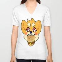 shiba V-neck T-shirts featuring SHIBA BURGER by Samedi J.