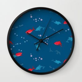 Blue Dolphin and Red Shark Wall Clock