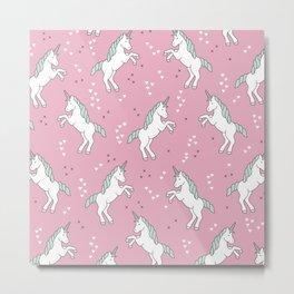 Unicorn Love pink pattern Metal Print