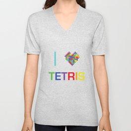 I heart Tetris Unisex V-Neck