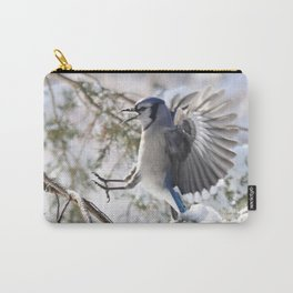 """Get Off My Branch!"" Blue Jay Carry-All Pouch"