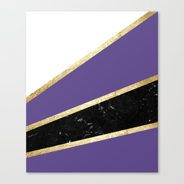 Ultra Violet, White, Black Marble and Gold Stripes Glam #1 #minimal #decor #art #society6 Leinwanddruck