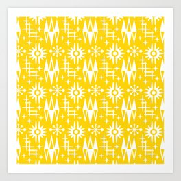 Mid Century Modern Atomic Space Age Pattern Yellow Art Print