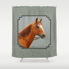 Red Dun Western Quarter Horse Shower Curtain