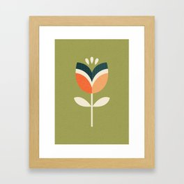RETRO TULIP - ORANGE AND OLIVE GREEN Framed Art Print