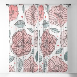Watercolor and ink flowers - living coral Sheer Curtain