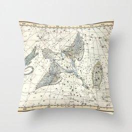Constellations Lacerta, Cygnus, Lyra Celestial Atlas Plate 11 - Alexander Jamieson Throw Pillow
