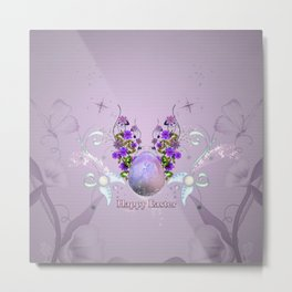 Happy easter, easter egg with flowers Metal Print