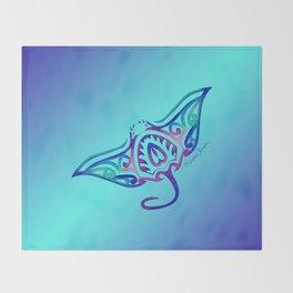 Tribal Manta Ray Throw Blanket