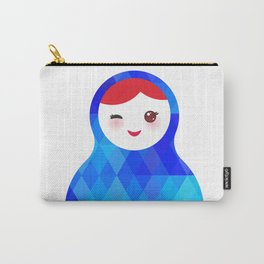 wink Russian doll matryoshka with bright rhombus on white background, blue colors Carry-All Pouch