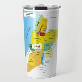 Map of Twelve Tribes of Israel from 1200 to 1050 According to Book of Joshua in French Travel Mug