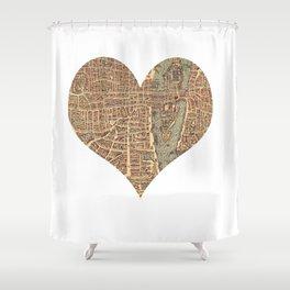 heart map 4 Shower Curtain