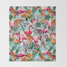 Floral and Flamingo VII pattern Throw Blanket