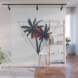 Sunset beach. Palms Wall Mural
