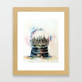 Snow globe - watercolour illustration Framed Art Print