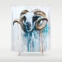 sheep Shower Curtains featuring Sheep by Slaveika Aladjova