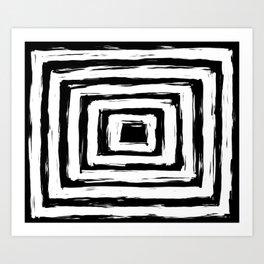 Minimal Black and White Square Rectangle Pattern Art Print