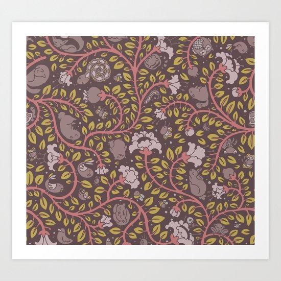 sleepy - retro colors Art Print