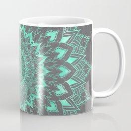 Boho turquoise watercolor floral mandala on grey cement concrete Coffee Mug