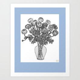 Spring Flowers in Vase on Robin's Egg Blue Background Art Print