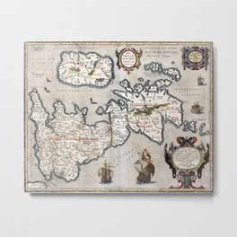 Map of The British Isles - Ortelius - 1595 Metal Print