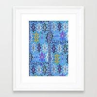 kilim Framed Art Prints featuring Aztec Kilim by EllaJo