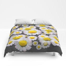 CHARCOAL GREY GARDEN OF SHASTA DAISY FLOWERS Comforters