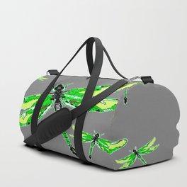 EMERALD GREEN  SWAMP DRAGONFLIES GREY ART Duffle Bag