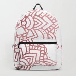 Modern geometric white rose faux gold floral mandala Backpack