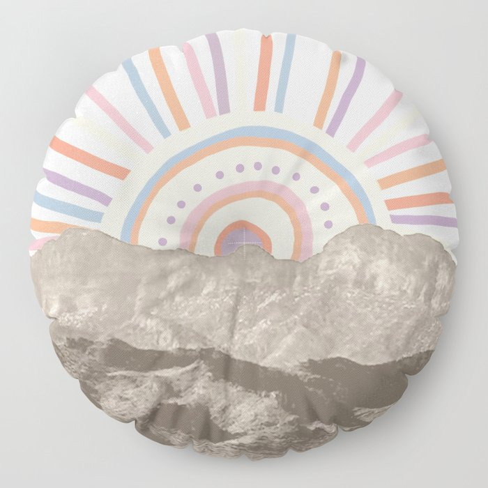 Summerlin Mountain Up // Abstract Vintage Mountains Summer Sun Surf Beach Vibe Drawing Happy Wall Ha Floor Pillow