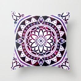 Glowing Flower Mandala Red White Pink Blue Throw Pillow