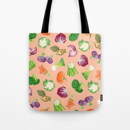 Peach pink veggies illustration pattern | Vegetables pattern Tote Bag