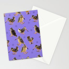 Purple Polka-Dotted Peents Stationery Cards