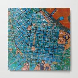 Odessa antique map, colorful mas, classic artwork Metal Print