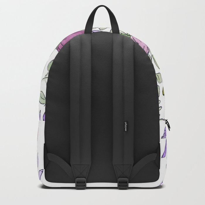 Watercolor. Lilac fairy bells . Backpack