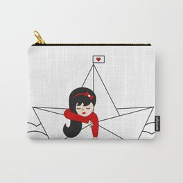 cute lonely girl in a paper boat sailing in the sea Carry-All Pouch