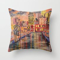 minneapolis Throw Pillows featuring Minneapolis  by Kali Koltz