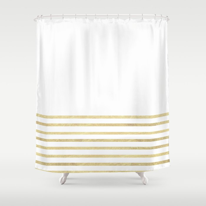 white and gold stripes shower curtain by marilenaxiari society6. Black Bedroom Furniture Sets. Home Design Ideas