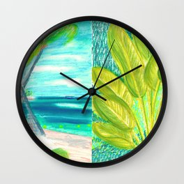 caribe beach and garden Wall Clock