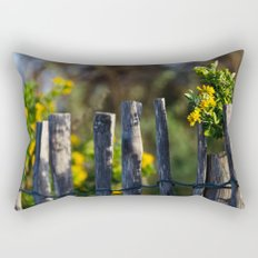 Yellow flower and wood fence Rectangular Pillow