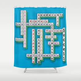 Cross Word Puzzle of Success Shower Curtain