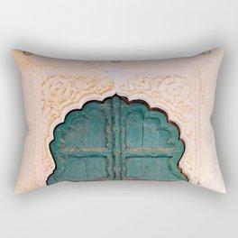 Antique door in India - Teal door, peach wall Rectangular Pillow