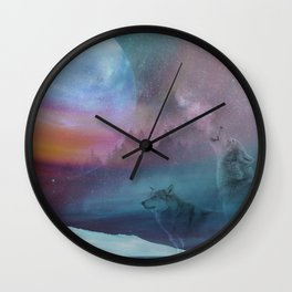 Howling at the moon Wall Clock