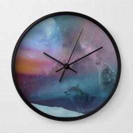 Howling at the moon Wall Clock