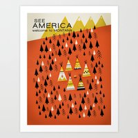 montana Art Prints featuring Montana by Design for Obama