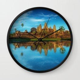 Sky Blue Day at Angkor Wat Buddist Temple, Cambodia by Lor Teng Huy Wall Clock