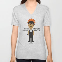 Charlie Chaplin, Modern Times, minimal movie poster Unisex V-Neck