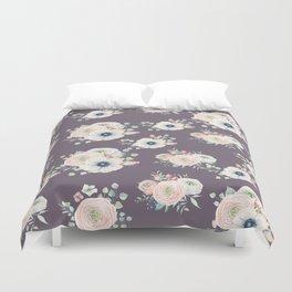 Dog Rose Pattern  Mauve Duvet Cover