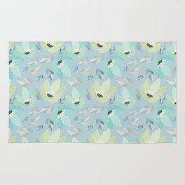 Abstract mint pastel blue teal floral illustration Rug
