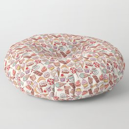 Hand drawn confectionery croissant Cupcake candy ice cream cake donut and coffee Floor Pillow